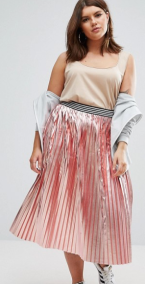 ASOS Curve | ASOS CURVE Pleated Skirt in Metallic with Sports Waistband Safari, Today at 18.39.46