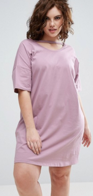 ASOS Curve | ASOS CURVE T-Shirt Dress with Open Neck Detail Safari, Today at 19.09.08