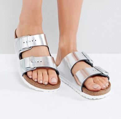 Birkenstock | Birkenstock Arizona Metallic Silver Leather Flat Sandals Safari, Today at 19.36.08